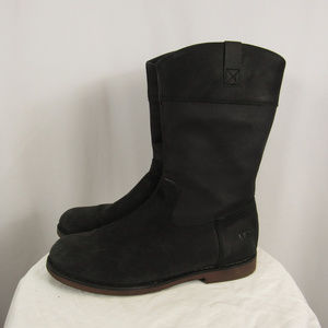 UGG Black Leather Mid Calf Side Zip Boots Size 5